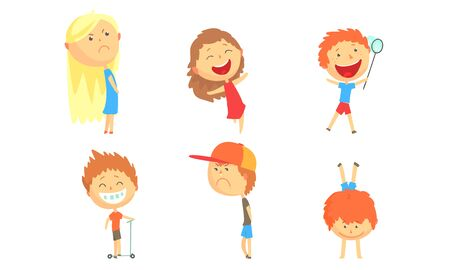 Children with big heads relax in the summer. Vector illustration.