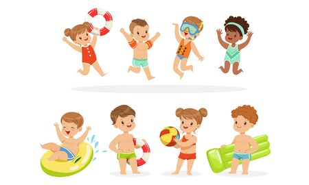 Children in swimming clothes with inflatable toys. Vector illustration.
