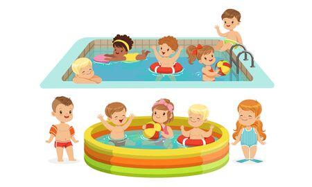 Children swimming in the pool. Vector illustration. 일러스트