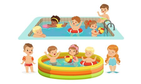 Children swimming in the pool. Vector illustration. Illustration