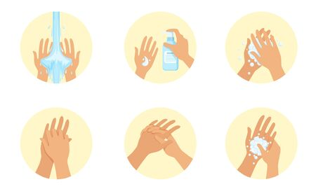 Image washing a pair of hands. Vector illustration.