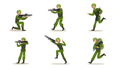 Set of images of soldiers in green uniforms. Vector illustration. Illustration