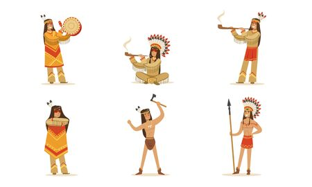 Men and women in traditional Native American clothing. Vector illustration.