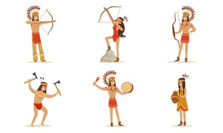 Men and women in traditional Native American clothing with guns. Vector illustration.