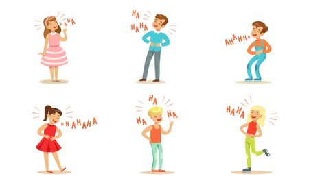 Modern boys and girls are laughing. Vector illustration.