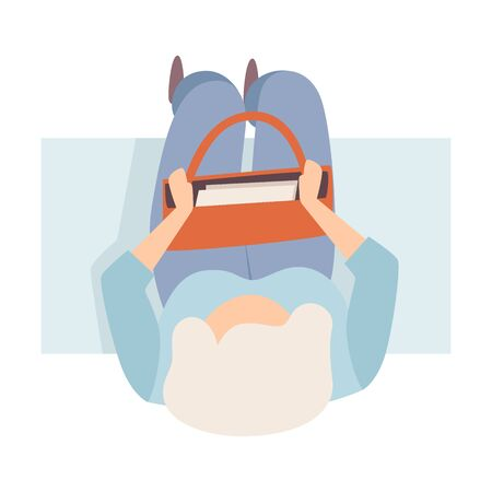 Woman Sitting On The Bench With Opened Bag Flat Vector Illustration 일러스트