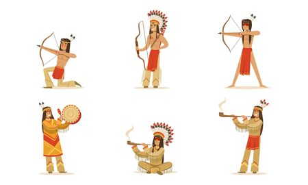 Set of man in traditional Indian clothing. Vector illustration.