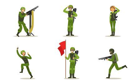 Set of men in green uniform. Vector illustration.
