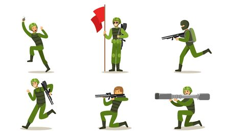 Set of military men in green uniform. Vector illustration.