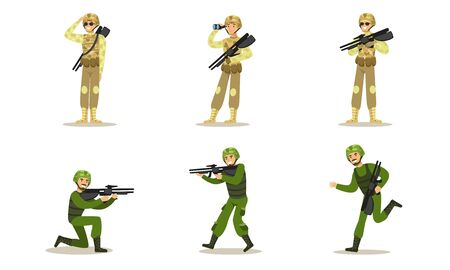 Set of military men in green and beige uniforms. Vector illustration. Ilustrace