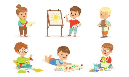 Toddlers are engaged in creativity. Vector illustration.