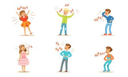 Los niños y las niñas se ríen a carcajadas. Ilustración de vector.