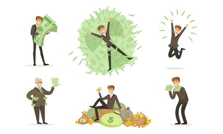 Men in classic suits bathe with bundles of green notes and bags of gold coins. Vector illustration.