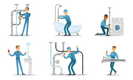 Men plumbers in blue overalls work. Vector illustration.
