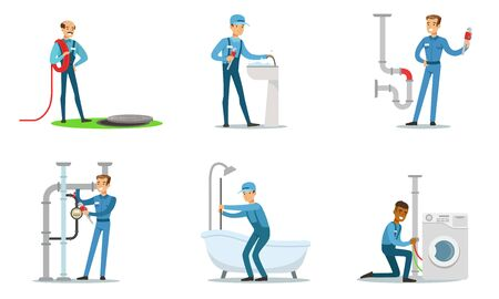 Set of plumbers at work. Vector illustration.  イラスト・ベクター素材