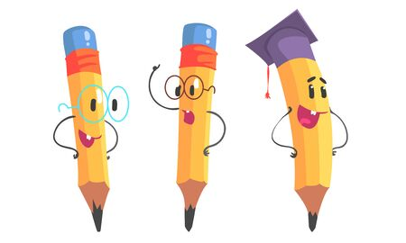 Yellow pencil with hands and glasses. Vector illustration.