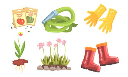 Garden Instruments And Stuff For Plant Flowers, Fruits And Vegetables Vector Illustration Set Isolated On White Background