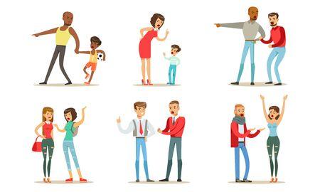 Mensen maken ruzie met elkaar. Vector illustratie.