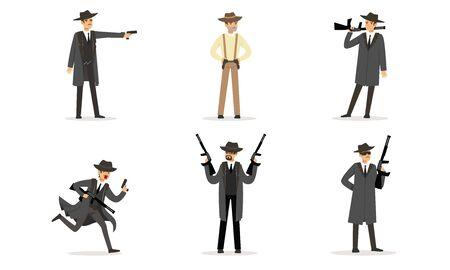 Men in suits of gangsters. Vector illustration. Illustration