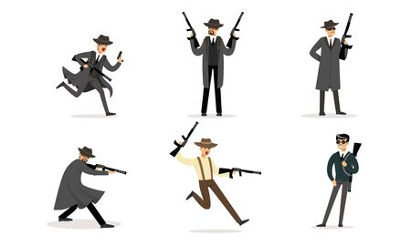 Gangsters with weapons in their hands. Vector illustration. Ilustrace