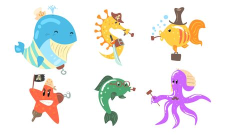 Set of cartoon sea animals pirates. Vector illustration.