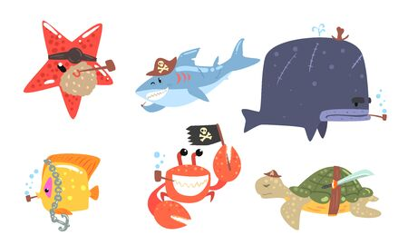 Set of sea animals in pirate costumes. Vector illustration. Illusztráció