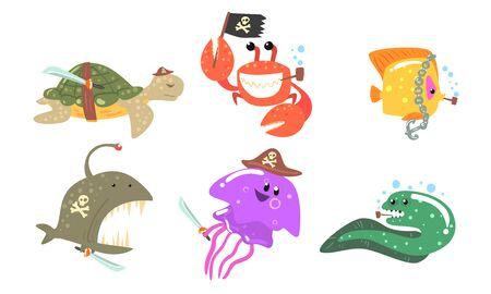 Set of sea animals in a hat and a pirate bandage. Vector illustration.  イラスト・ベクター素材