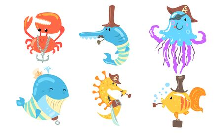 Set of sea animals in the role of a pirate. Vector illustration.