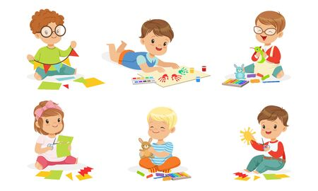 Boys and girls are engaged in creativity. Vector illustration. Ilustração