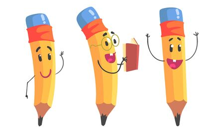 Yellow humanized pencil with hands and face. Vector illustration.