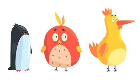 Cartoon cute birds. Vector illustration on a white background.