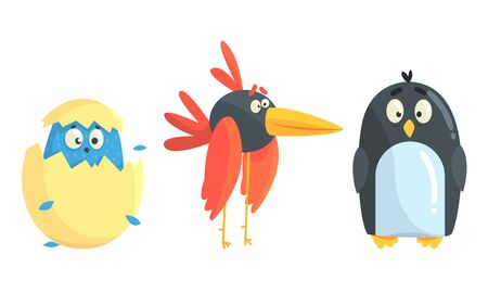 Cartoon birds and chicken. Vector illustration on a white background.