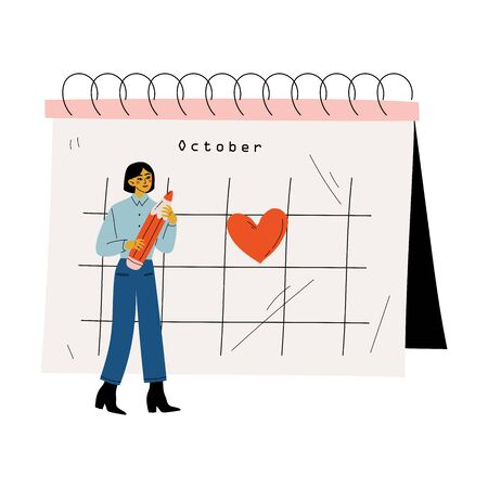 Small Young Woman Planning Important Events on Big Calendar, Time Management and Business Planning Vector Illustration Illustration