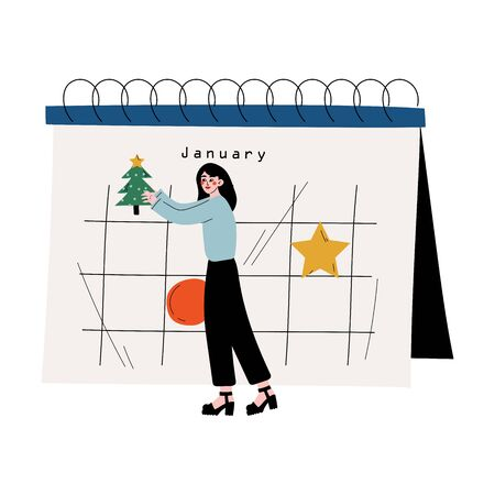 Young Woman Planning Important Events on Big Calendar, Time Management and Business Planning Vector Illustration