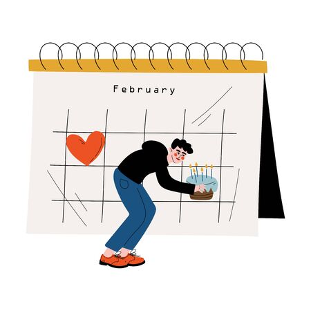 Young Man Planning Important Events on Big Calendar, Time Management and Business Planning Vector Illustration Stock Illustratie