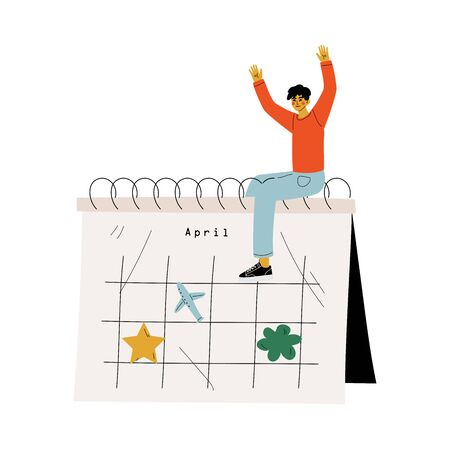 Young Man Sitting on a Big Calendar Planning Important Events, Time Management and Business Planning Vector Illustration