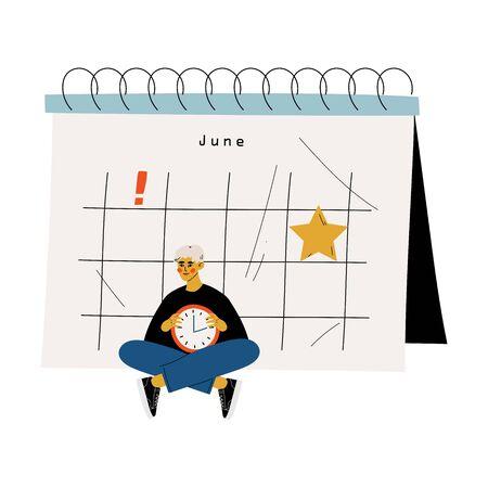 Joven sentado junto a un gran calendario con reloj de pared, gestión del tiempo y planificación empresarial ilustración vectorial sobre fondo blanco.