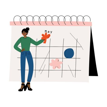African American Woman Planning Important Events on Big Calendar, Time Management and Business Planning Vector Illustration on White Background. Stock Illustratie