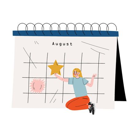 Young Woman Sitting Near Big Calendar and Planning Important Events, Time Management and Business Planning Vector Illustration on White Background. Stock Illustratie