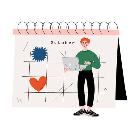 Young Man Standing Near Big Calendar Using Laptop Computer, Time Management and Business Planning Vector Illustration on White Background. Stock Illustratie