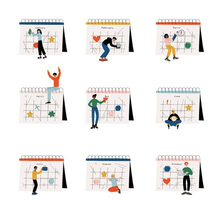 Small People Planning Important Events on Big Calendar Set, Time Management and Business Planning Comcept Vector Illustration on White Background. Standard-Bild - 133573068