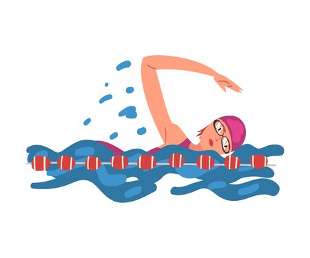 Professional Sportswoman Character Swimming in a Pool, Crawl Swimming Style, Active Healthy Lifestyle Vector Illustration on White Background.