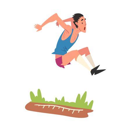 Athlète masculin effectuant un saut en longueur lors d'une compétition, Illustration vectorielle de style de vie Sport actif sur fond blanc.