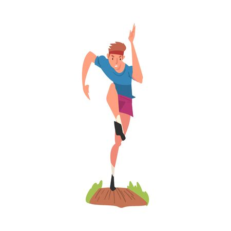 Young Man Running During a Competition, Active Sport Lifestyle Vector Illustration on White Background.