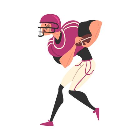 Male Rugby Player Character in Sports Uniform and Helmet, Active Sport Lifestyle Vector Illustration on White Background.