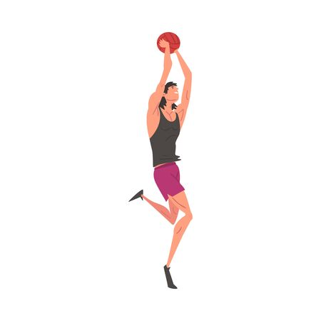 Male Athlete Character Playing Volleyball, Active Sport Lifestyle Vector Illustration on White Background. Ilustração
