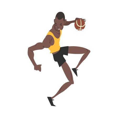 Male African American Basketball Player, Professional Sportsman Character, Active Sport Lifestyle Vector Illustration on White Background.