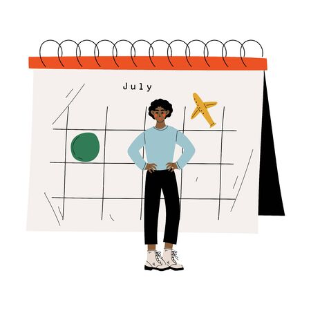 Young African American Man Standing Near Big Calendar Planning and Scheduling Important Events, Time Management and Business Planning Vector Illustration on White Background.