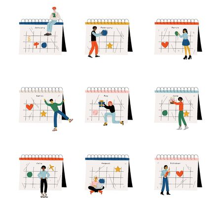 Collection of Small People Standing Near Big Calendar Planning and Scheduling Important Events, Time Management and Business Planning Comcept Vector Illustration on White Background.
