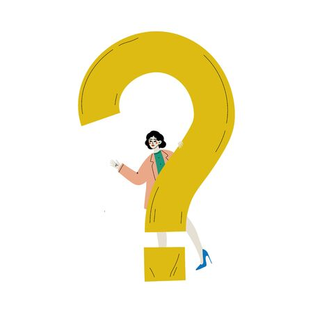 Girl Standing Next to a Big Question Mark, Young Woman Doubting, Making a Choice or Seeking Solution to a Problem Vector Illustration on White Background.